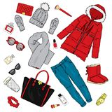 Selection of winter women`s clothing. Jacket, coat, shoes, bag, perfume, cosmetics and other accessories. A set of stickers. Vector illustration for a postcard Stock Photo