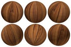 Wood Balls. A selection of wooden balls set at various angles Stock Image