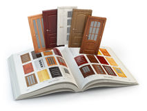 Selection of wooden doors by catalog with samples. Interior desi royalty free illustration
