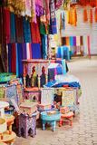 Selection of wooden furniture on a traditional Moroccan market Stock Photo