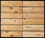 Selection of wooden planks isolated black Royalty Free Stock Images