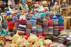 Selection of woolen hats on a traditional Moroccan market Royalty Free Stock Photo