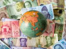 Selection of world south east asia banknotes with map. Selection of world south east asia currencys with map royalty free stock photo