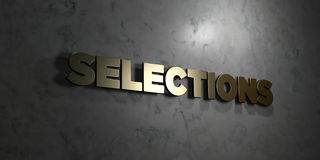 Selections - Gold text on black background - 3D rendered royalty free stock picture. This image can be used for an online website banner ad or a print postcard Royalty Free Stock Image