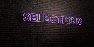SELECTIONS -Realistic Neon Sign on Brick Wall background - 3D rendered royalty free stock image. Can be used for online banner ads and direct mailers Royalty Free Stock Photos