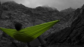 Selective Color of Green Canvas Hammock royalty free stock photos