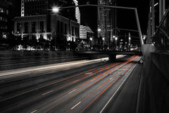 Selective Color Landscape Photograph of Gray-scale City Street Royalty Free Stock Images