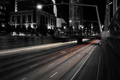 Selective Color Landscape Photograph of Gray-scale City Street Stock Photo