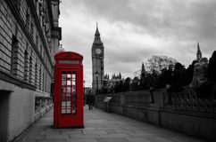 Selective color red telephone box in London Royalty Free Stock Images