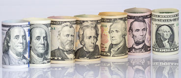 Selective focud of US dollars bank notes. Royalty Free Stock Photography