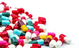 Selective focus of antibiotic capsules pills on blur background. With copy space. Drug resistance concept. Antibiotics drug use with reasonable and global stock photos