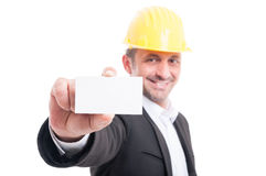Selective focus of architect showing blank business card Royalty Free Stock Images