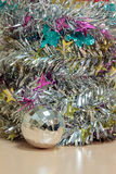 Selective focus ball christmas decoration on wood and blur backgr Royalty Free Stock Images