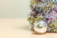 Selective focus ball Christmas decoration on wood. Royalty Free Stock Image