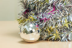 Selective focus ball Christmas decoration on wood. Royalty Free Stock Photos
