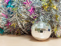 Selective focus ball Christmas decoration on wood. Royalty Free Stock Images