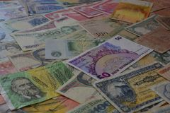 International currencies, variety of banknotes royalty free stock images