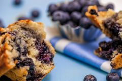Selective focus of blueberry muffin half with blueberries and muffin pieces.  Stock Image
