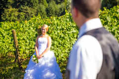 Selective Focus Bride and Groom Stock Photography