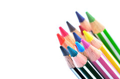 Selective focus of bunch of color pencils with stripe, white background. Stock Photo
