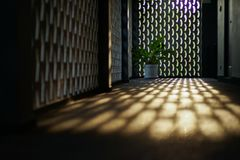 Selective focus on cement floor of corridor reflects the light of sunset with blurred bokeh lights background.  royalty free stock photos