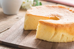 Selective focus, Chiffon cake on wood cutting board. Royalty Free Stock Photography