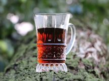 Selective Focus of Clear Glass Mug With Red Liquor Royalty Free Stock Image