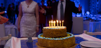 Selective focus close up anniversary cake Stock Photography