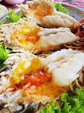 Selective focus, Close up of barbecued shrimp on tray in restaurant stock images