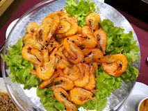 Selective focus, Close up of barbecued shrimp on tray stock photo