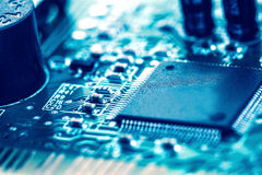 Selective focus of close up computer electronic circuit board, e Stock Photo