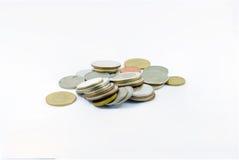 Selective focus of coins thailand. Selective focus of coins a money for spending thailand isolate Royalty Free Stock Photos
