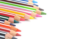 Selective focus of Color pencils with stripe, white background with copy space Stock Photo