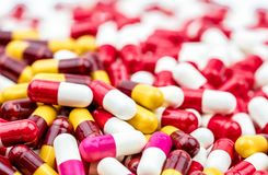 Selective focus on colorful of antibiotic capsules pills stock images