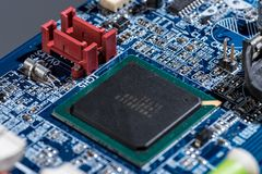 Computer motherboard chip and other details Royalty Free Stock Photography