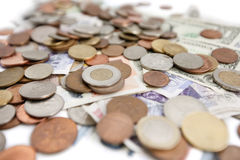 Selective focus of currencies Stock Photos