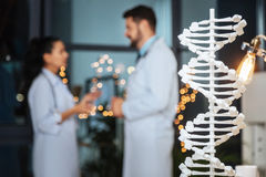 Selective focus of a DNA model Royalty Free Stock Images