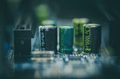 Selective focus effect and macro view of the group of electronic Stock Photo