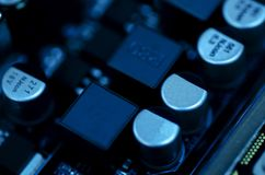 Selective focus effect and macro view of the group of electronic Royalty Free Stock Image