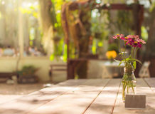 Selective focus flower glass vase on table vintage process style Stock Photo