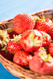 Selective focus on fresh red strawberry with blurred background. Selective focus on fresh red strawberry with blurred background Stock Image