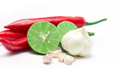 Selective focus of garlic whit red chili and lime lemon arrange Stock Photo
