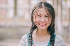 Selective Focus of Girl Smiling Stock Images