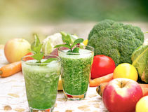 Selective focus on glass of green smothie Royalty Free Stock Photography