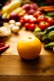 Selective focus grapefruit with Vegetables backgrounds.  Royalty Free Stock Photos