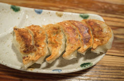 Selective focus gyoza in plate Royalty Free Stock Photography