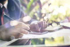 Selective focus Hand writing blank paper Stock Photos