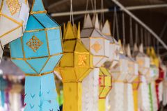 Selective focus of the handcraft lantern. In the traditional Thai style which  hanging around the Thai temple for wealth and good luck,New year festival in the royalty free stock images