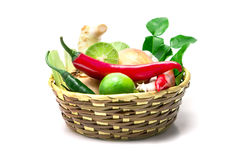 Selective focus herb and spice ingredients in wooden basket on w Stock Photos