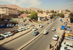 Selective focus on highway through the city in the Middle East Stock Photography